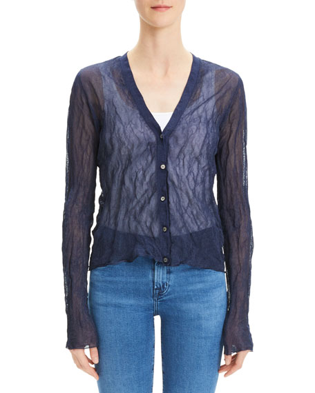 Theory Crinkle Button-Front Metallic Crepe Cardigan