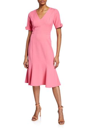 Shoshanna Laney V-Neck Bow-Cuff Crepe Dress