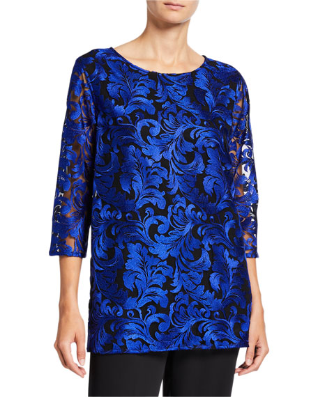 Caroline Rose Petite Flourish Embroidery 3/4-Sleeve Lined Tunic