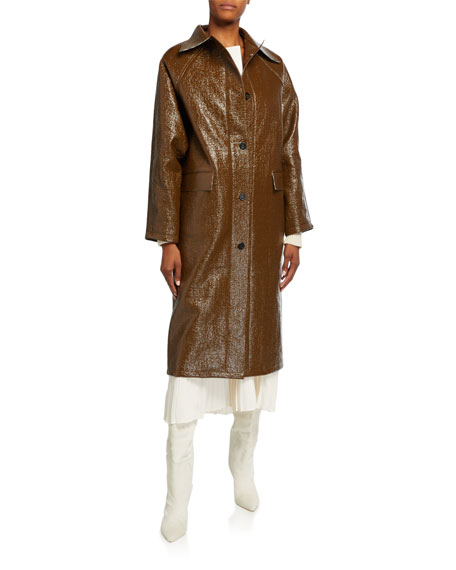 Image 2 of 3: Kassl Lacquer Long Self-Tie Raincoat