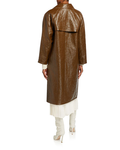 Image 3 of 3: Kassl Lacquer Long Self-Tie Raincoat