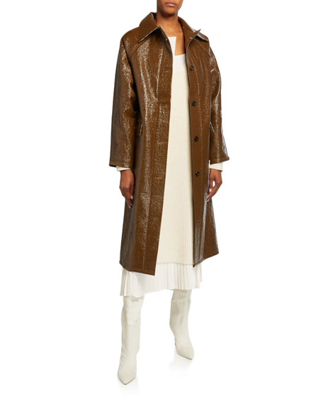 Image 1 of 3: Kassl Lacquer Long Self-Tie Raincoat