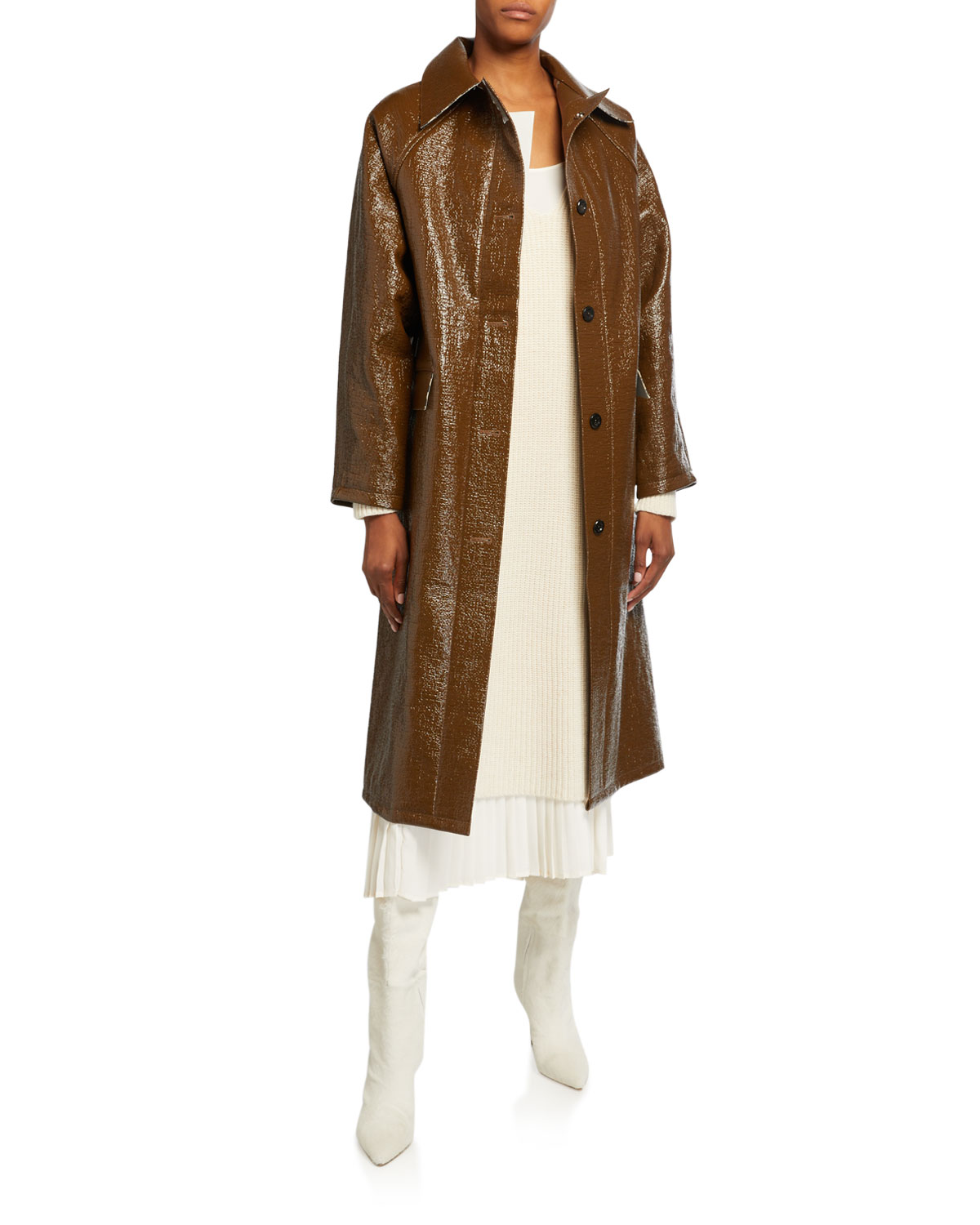 Kassl Lacquer Long Self-Tie Raincoat