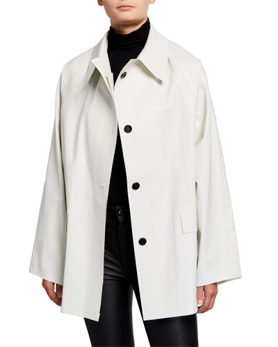 Short Oil Finish Raincoat  White