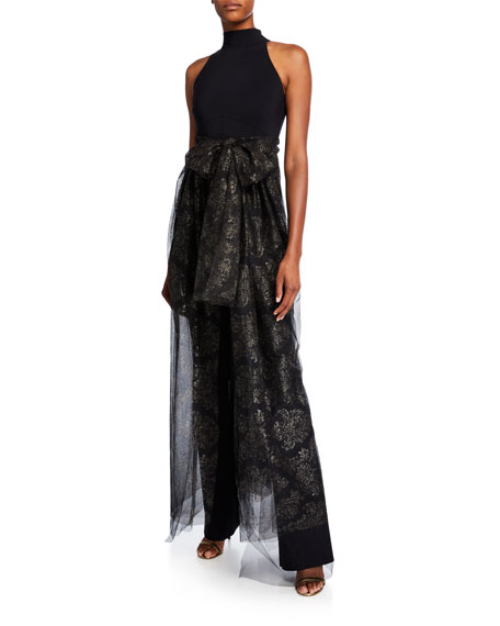 Image 1 of 3: Chiara Boni La Petite Robe Halter Jumpsuit with Metallic Tulle Overlay