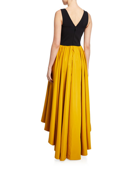 Image 3 of 3: Chiara Boni La Petite Robe Sweetheart Taffeta High-Low Sleeveless Gown