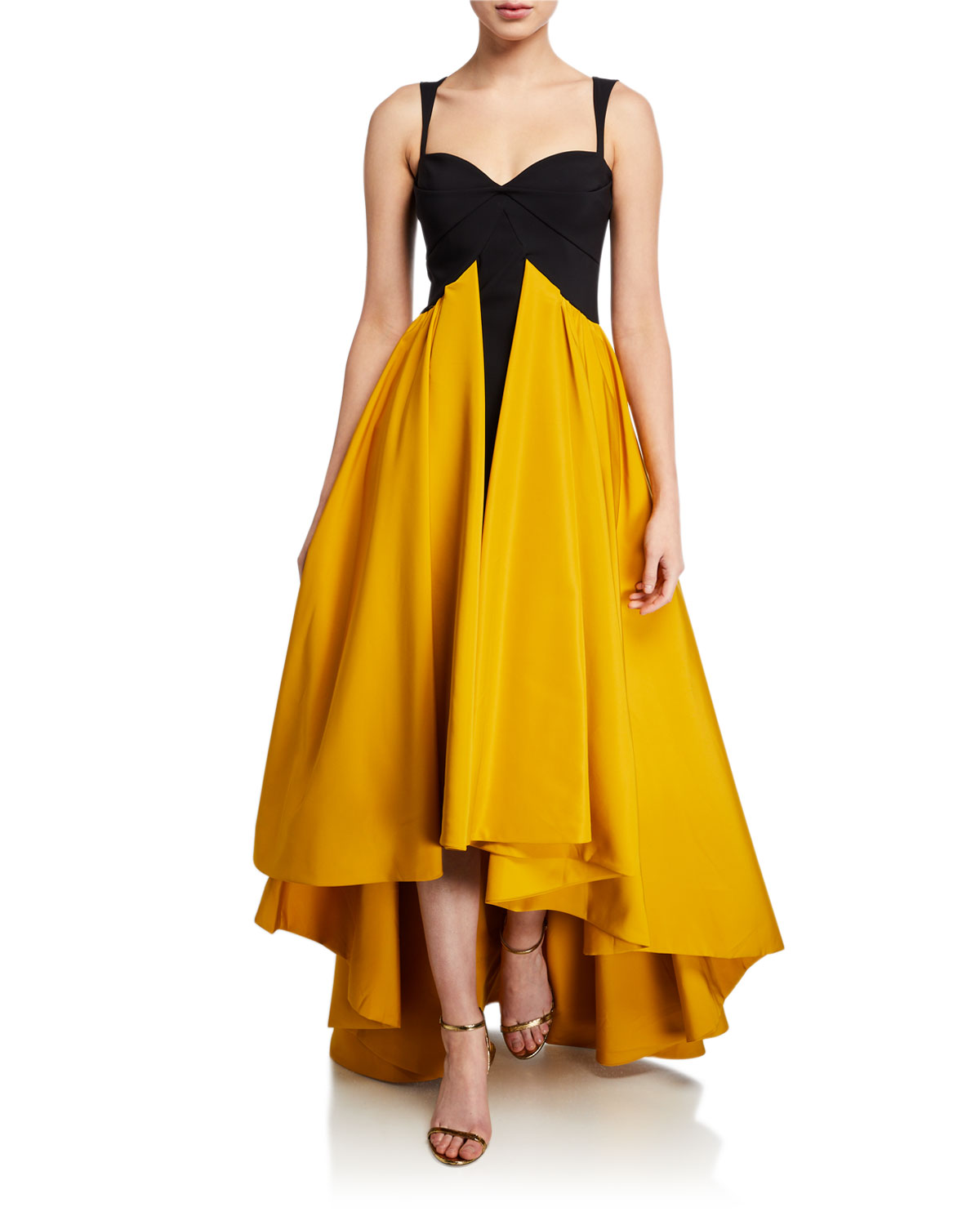 Chiara Boni La Petite Robe Sweetheart Taffeta High-Low Sleeveless Gown
