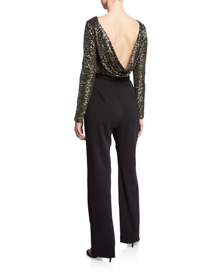 Image 2 of 2: Badgley Mischka Collection Sequin Long-Sleeve Cowl-Back Belted Jumpsuit