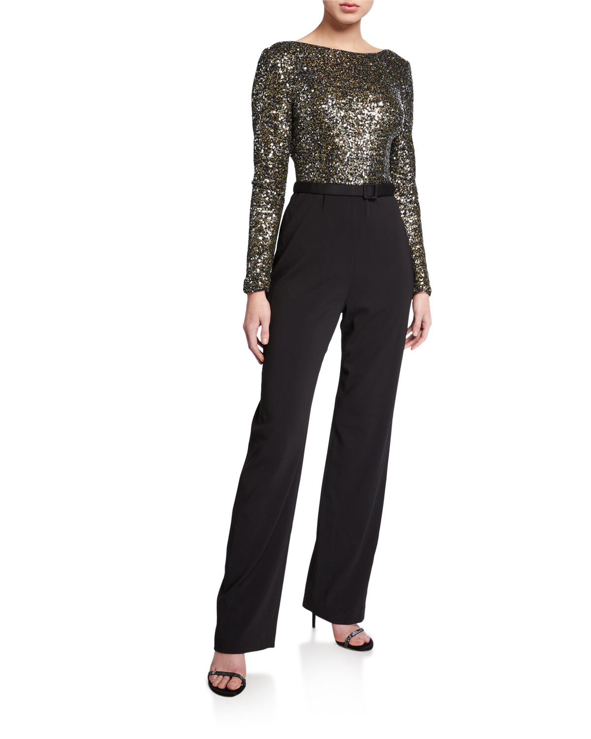 Badgley Mischka Collection Sequin Long-Sleeve Cowl-Back Belted Jumpsuit
