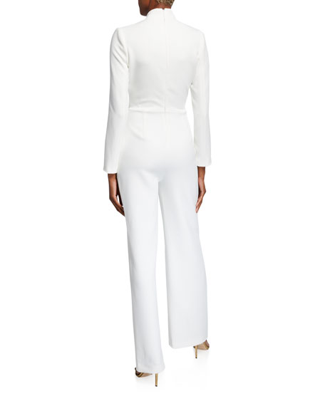Image 3 of 3: Badgley Mischka Collection V-Neck Long-Sleeve Drape Front Jumpsuit w/ Bead Embellishment