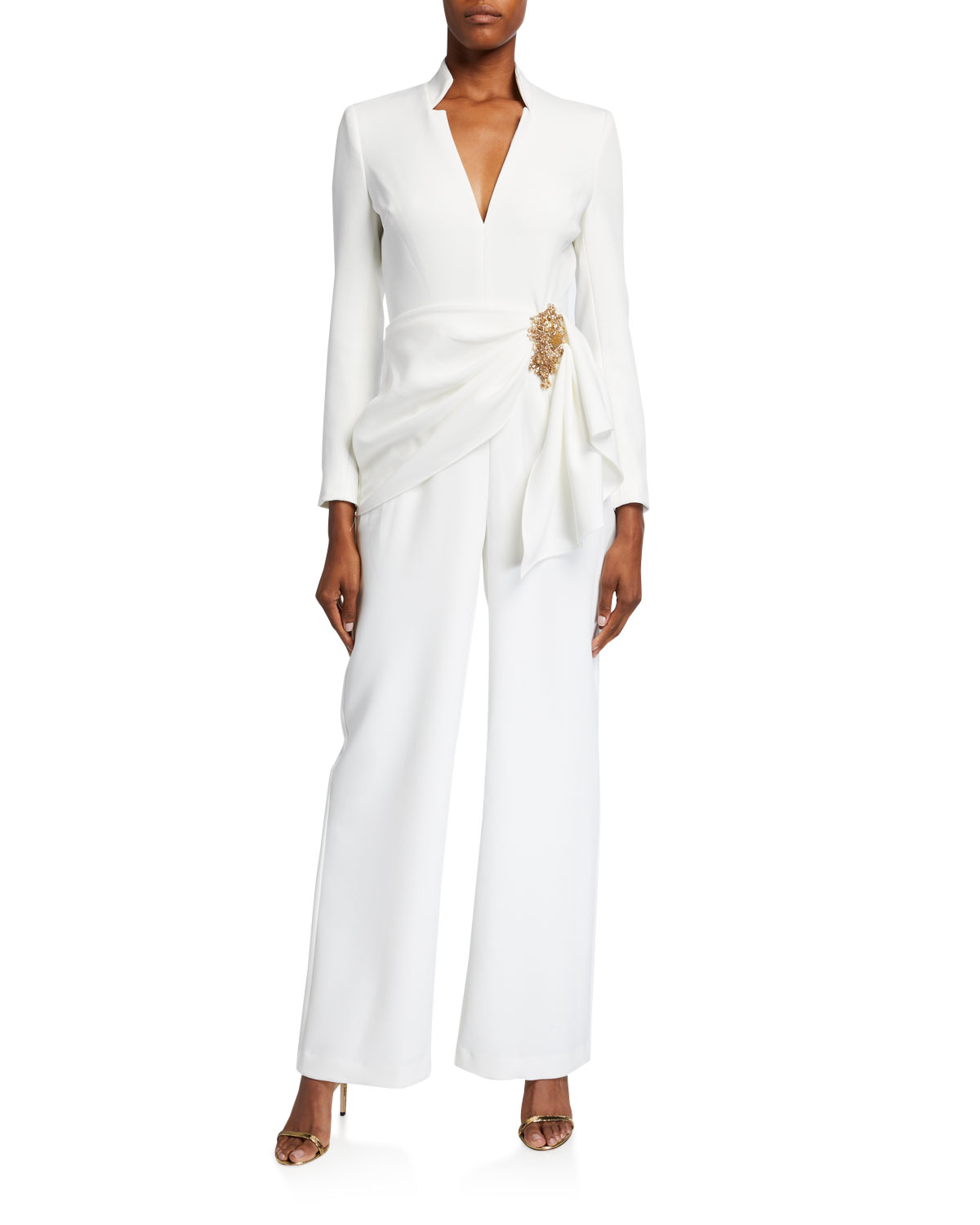 Badgley Mischka Collection V-Neck Long-Sleeve Drape Front Jumpsuit w/ Bead Embellishment
