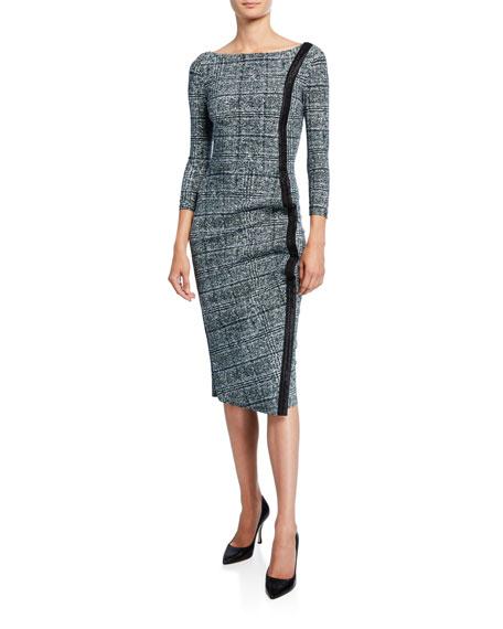 Chiara Boni La Petite Robe Long-Sleeve Tweed Dress w/ Piping