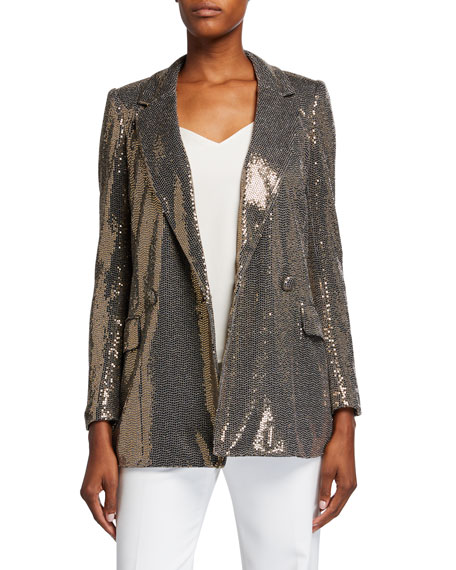 Badgley Mischka Collection Sequin Long-Sleeve Belted Smoking Jacket