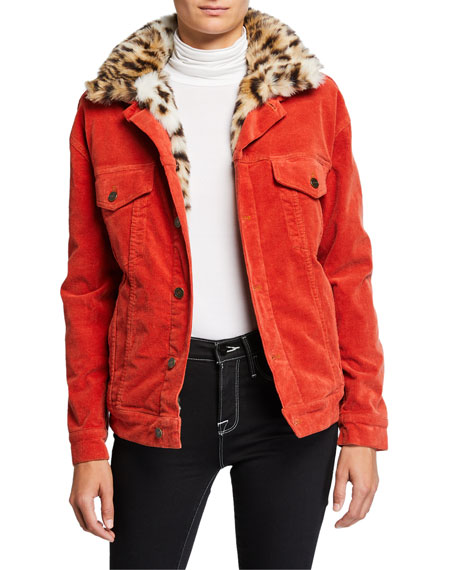 Pam & Gela Oversized Corduroy Jacket with Faux-Fur Collar