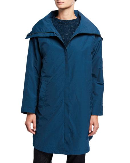 Eileen Fisher Coats PETITE HIGH-COLLAR ZIP-FRONT ORGANIC COTTON/NYLON COAT