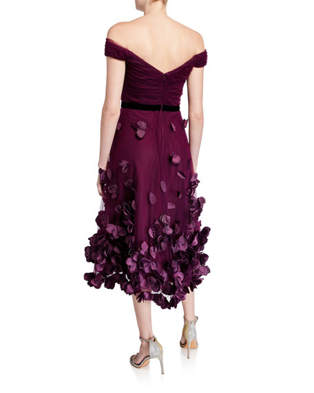 Marchesa Notte Off-the-Shoulder Draped-Bodice High-Low Dress w/ 3D Flower Degrade