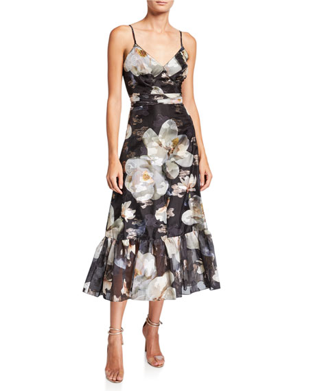 Marchesa Notte Floral Fils Coupe V-Neck Sleeveless Ruffle-Hem Dress with Lace-Trim