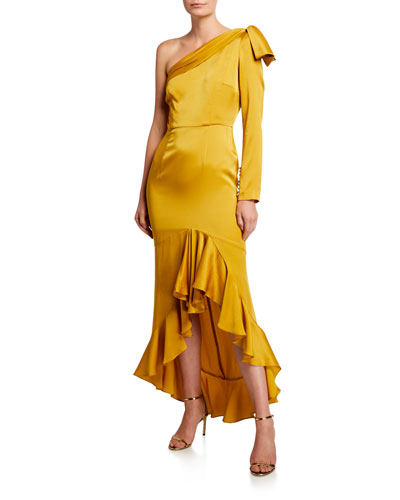 Mac Crepe One-Shoulder High-Low Ruffle Cocktail Dress