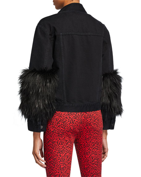 ALICE + OLIVIA JEANS Cropped Denim Jacket with Faux Fur Cuffs