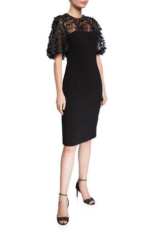 Carmen Marc Valvo Infusion 3D Embellished-Sleeve Crepe Dress