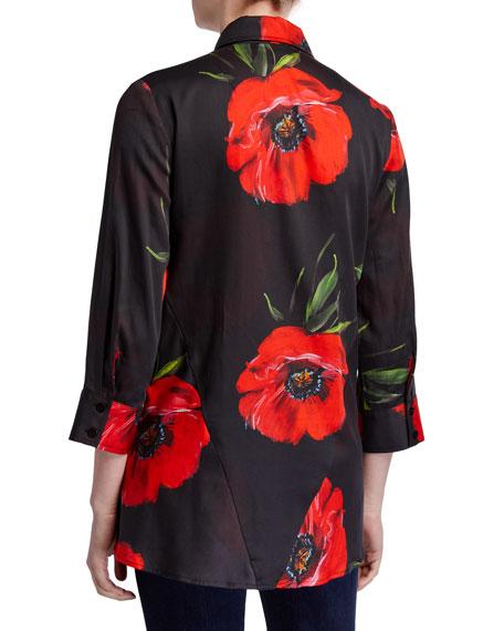 Finley Plus Size Poppy-Print 3/4-Sleeve Button-Front Trapeze Shirt
