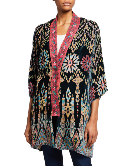 Johnny Was Payden Reversible Burnout Velvet/Silk Kimono