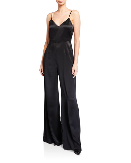 Jill Stuart V-NECK SLEEVELESS WIDE-LEG CHARMEUSE JUMPSUIT