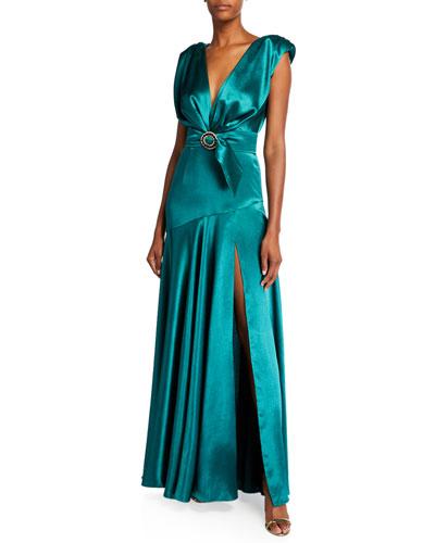 Romi Deep V-Neck Cap-Sleeve Wrap-Waist Satin Gown