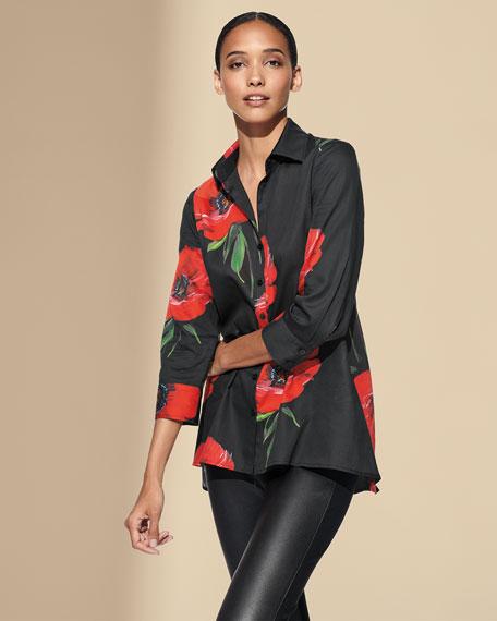Finley Poppy-Print 3/4-Sleeve Button-Front Trapeze Shirt