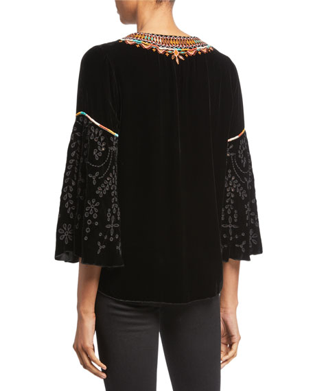 Johnny Was Chiri Embroidered Velvet Swing Blouse