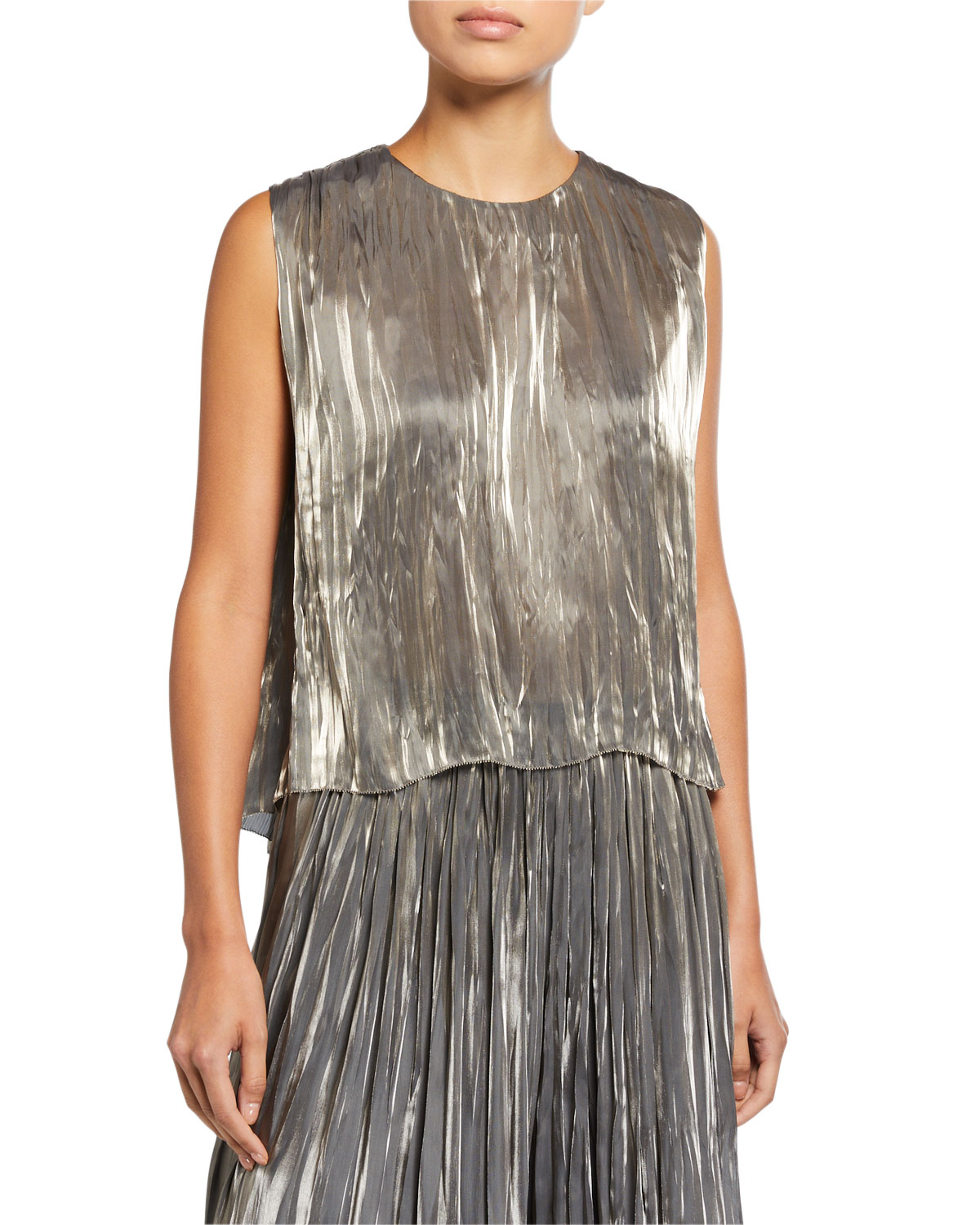 Iridescent Pleated Shell by Vince