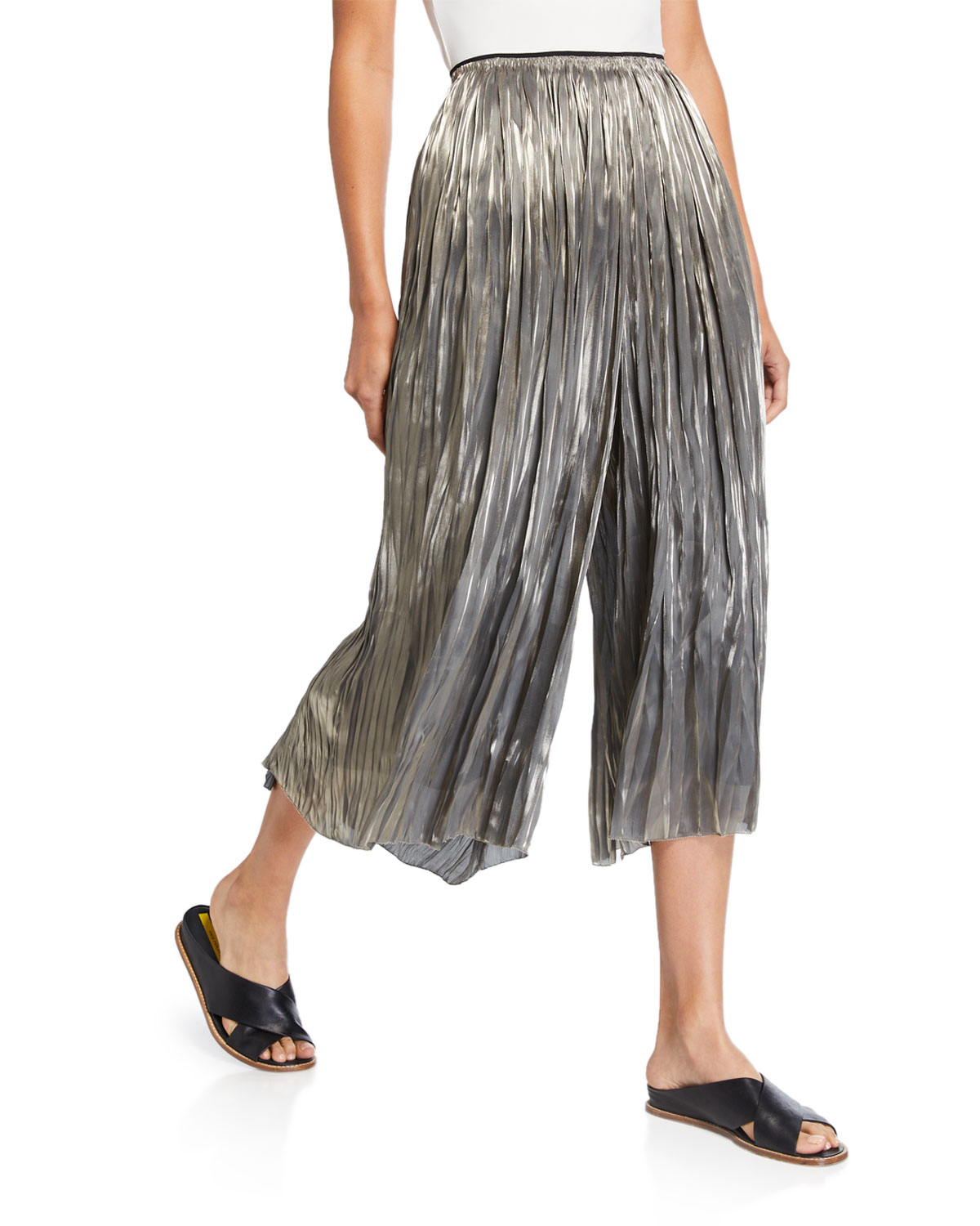 Iridescent Pleated Culottes by Vince