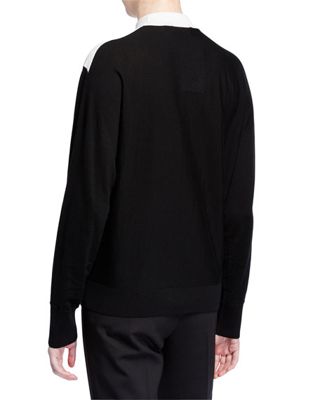Theory Regal Wool V-Intarsia Sweater