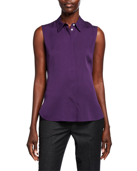 Theory Fitted Core St. Silk Sleeveless Top