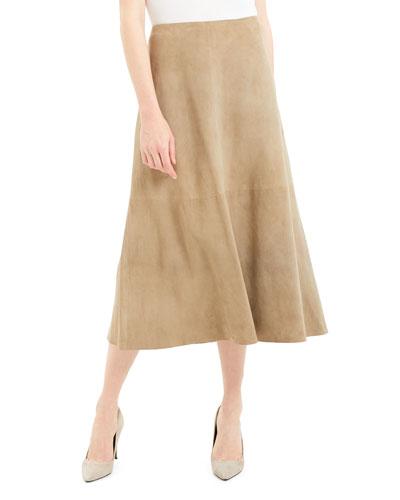 Soft Lamb Suede Volume Skirt