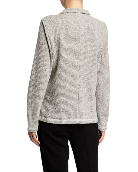 Eileen Fisher Organic Cotton Twist Terry Zip-Front Moto Jacket