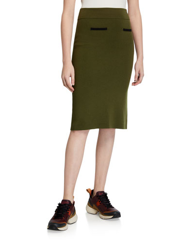 Knit Wool Pencil Skirt
