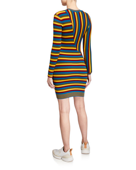 Victor Glemaud Multi-Stripe Long-Sleeve Dress
