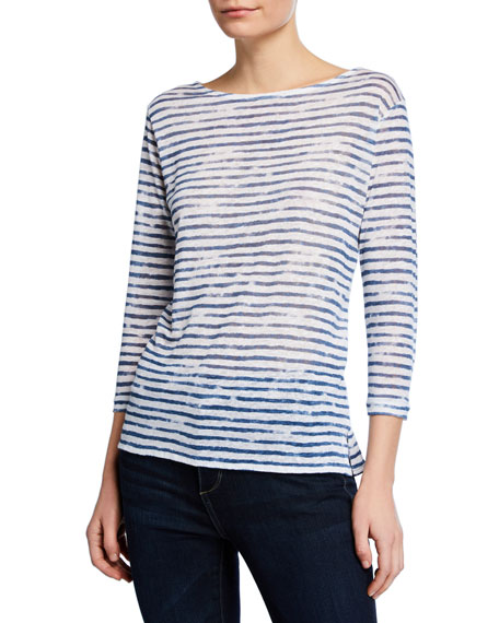 Majestic Paris for Neiman Marcus Boat-Neck 3/4-Sleeve Striped Linen Tee