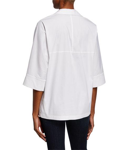 Lafayette 148 New York Nicole V-Neck 3/4-Sleeve Italian Stretch-Cotton Blouse
