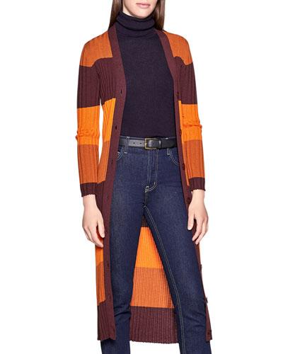 Verelle Block-Stripe Button-Front Wool Cardigan
