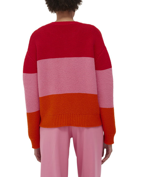 Chinti And Parker Giant Cable Colorblock Sweater