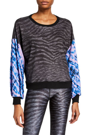 Terez Show Your Stripes Printed Puff Sleeve Sweatshirt