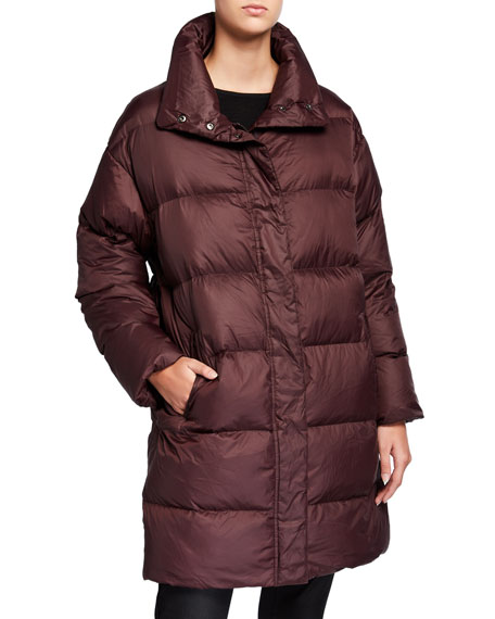 Eileen Fisher Plus Size Recycled Nylon Funnel-Neck Puffer Coat