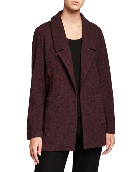 Eileen Fisher Plus Size Pucker Notch Collar Open-Front Jacket