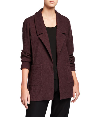 Plus Size Pucker Notch Collar Open-Front Jacket