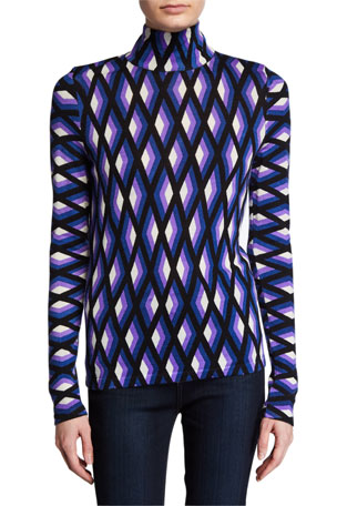 Diane von Furstenberg Brandy Geo-Print Wool Turtleneck Sweater
