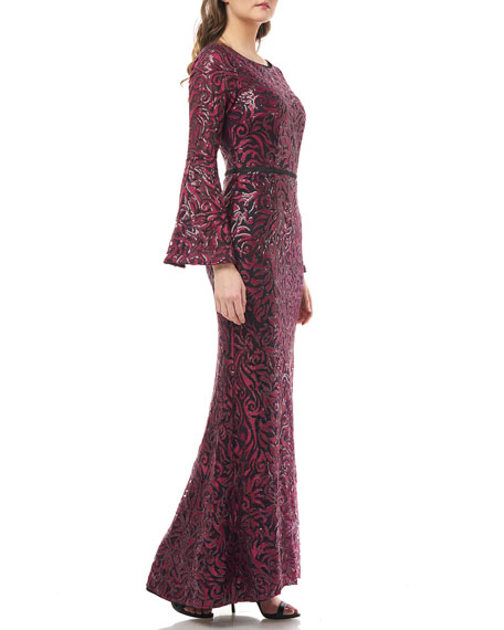 Carmen Marc Valvo Infusion Embroidered Boat-Neck Trumpet Gown