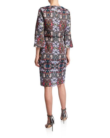 Badgley Mischka Printed Trumpet-Sleeve Day Dress