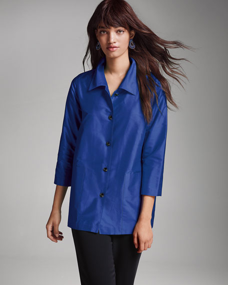 Image 2 of 3: Caroline Rose Plus Size Silk Shantung Occasion Shirt